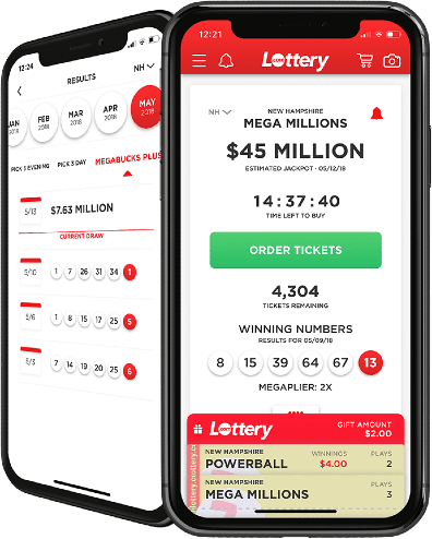 Picture of phone with Lottery.com app displayed on screen.